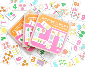 Retro Summertime Picture Domino Game Fridge Magnets - 36 pieces