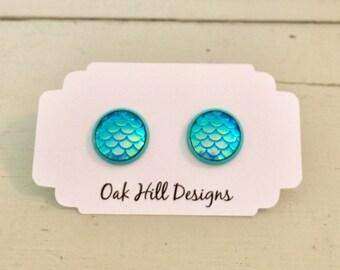 Aqua mermaid scale druzys-blue mermaid scale earrings-green mermaid scale earrings-druzy earrings