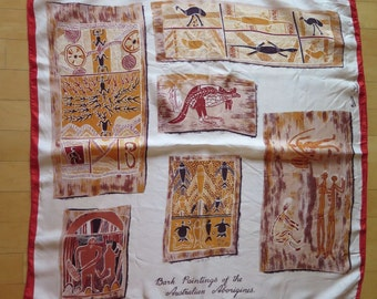 Vintage FRANCOIS by Neil Rayon Bark Paintings of the Australian Aborigines Square Scarf