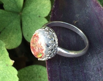 Handmade Sterling Silver Jelly Opal Antique Style Crown Ring- Bastet's Beads- Size 7