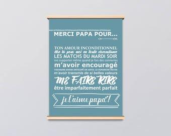"""PDF Affiche - Affiche - """"Fête des pères"""" - cadeau papa - je t'aime papa - anniversaire"""
