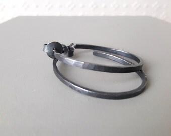 oxidized sterling silver oval hoop earrings hammered hoops oval earrings handmade earrings screw back hoops