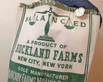 vintage Rockland Farms Chicago IL feed sack - Gussied Up Tote