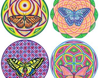 Sacred Butterflies Cosmic Circle, Sun Catcher, Bird Safe Window, Window Cling, Boho Chic, Bohemian Lifestyle, Earth Loving Art, Butterflies