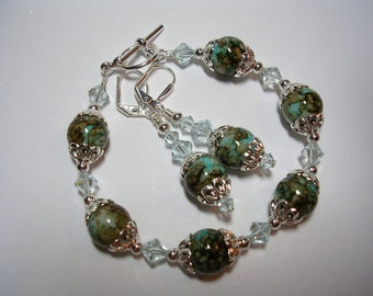 Aqua and Brown Bracelet and Earring Set Aquamarine Swarovski Crystal Toggle Bracelet Silver Leverback Hooks Wire Wrapped Gifts under 10