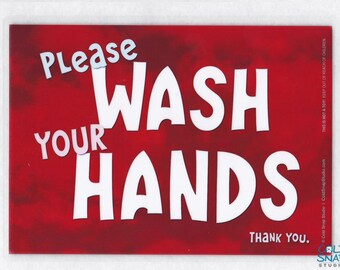 """Wash Your Hands 5"""" x 7"""" Laminated Sign, Red Clouds, SALE!"""