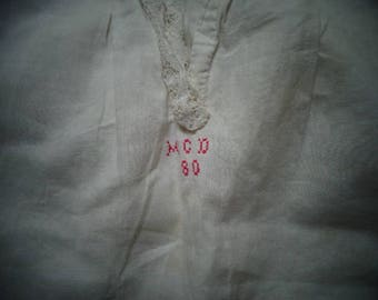 Precious White ANTIQUE Baby Dress dated Initials  MCD  80 Beautifully stitched Baby Dress
