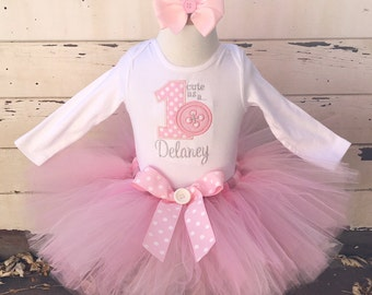 Cute As a Button 1st Birthday Tutu Outfit- Personalized Baby Girl