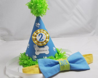Dog Bow Tie & Party Hat or Crown Set- 1st Birthday- Personalized