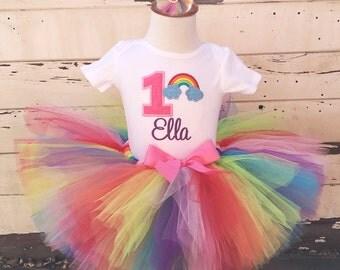 Pink Rainbow 1st Birthday Tutu Set- Personalized- Baby Girl