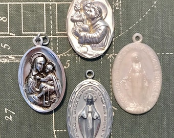 SALE 4 Larger Vintage HOLY Medals Oval Mary Jesus Saint Italy Religious Catholic Medal Jewelry Supplies Crucifix Pendant Curiosity Cabinet 4