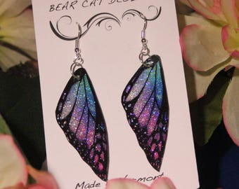 Purple Blue Teal Faux Butterfly Wing Earrings