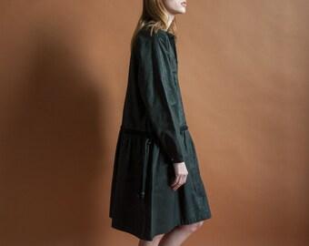 leather babydoll dress / black babydoll dress / animal print dress / s / 1603d / B3