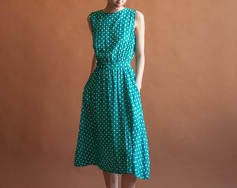 turquoise polka dot midi dress / blue day dress / sleeveless day dress / s / m / 1676d / B
