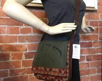 Horse Messenger Bag Green Brown Rust 10 x 10