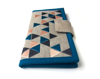 MADE TO ORDER / Womens Wallet / geometric triangle wallet / linen wallet / modern wallet / Gifts for Women / Card Wallet