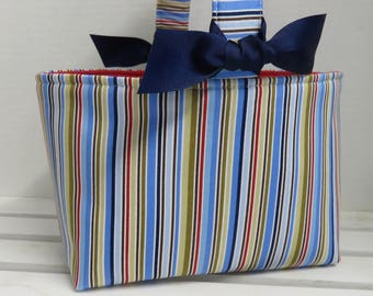 SALE / CLEARANCE - Ready to Ship - Easter Fabric Egg Hunt Candy Basket Storage Container - Stripe Fabric - Blues Browns Red