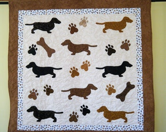 Dachshund quilt throw  -  54 x 53 inches