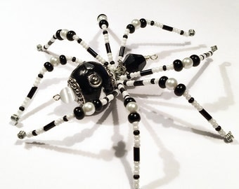 Lucy - black and white glass beaded spider goth sun catcher - Halloween decoration - Christmas ornament