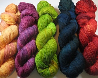 Handpainted Ultra Merino Superwash Sock/Fingering -- The Library at Downton Coordinating Semi-Solids