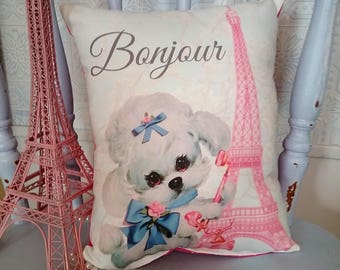 Shabby Vintage Inspired French Poodle Pink Eiffel Tower Pillow, Country French Pillow, French Decor, Nursery Decor