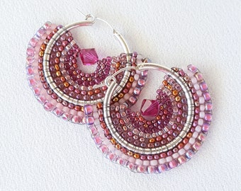 Media Luna Pink Beadwoven Earrings