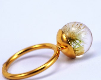 Dandelion Resin Ring, Gold-plated Sterling Silver Ring, Resin Jewellery, Dandelion Jewelry, make a wish