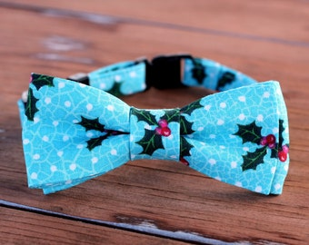 Christmas Cat Bow Tie Collar - holly on blue cotton cat bowtie, kitten bow tie, dog bow tie, adjustable collar - photo prop for pets - gift