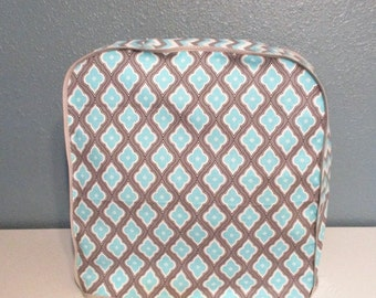 Kitchen Aid mixer dust cover in aqua, grey and off white with chevron stripes