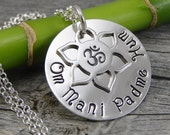 Ready to Ship - Hand Stamped Jewelry - Om Lotus Flower Charm - Om Mani Padme Hum - Mantra - Sterling Silver Necklace - Personalized Jewelry