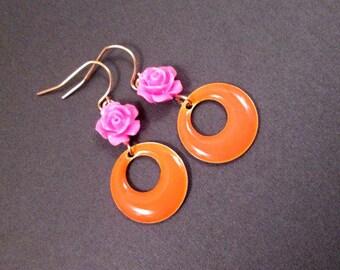 Dangle Hoop Earrings, Pink Resin Roses and Orange Enameled Hoops, Gold Earrings, FREE Shipping U.S.
