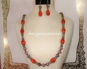 Barrel Red Sponge Coral, Autumn Garnet, Pearls, & Czech Glass Rondelles Necklace and Earrings Set