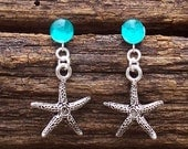 Recycled Vintage Mason Jar Starfish Charm Earrings/Nautical/Seashore/Beach Jewelry/Upcycled/Recycled/Repurposed/Gift for Her/Ocean