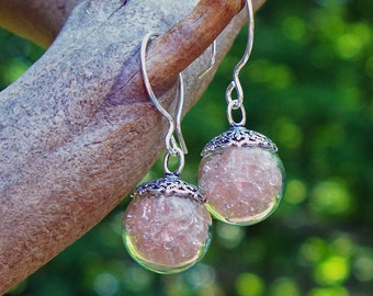 Recycled Antique Pink Depression Glass/Orb Earrings/Upcycled/Recycled/Repurposed/Recycled Glass Earrings/Upcycled Earrings/Sterling Silver