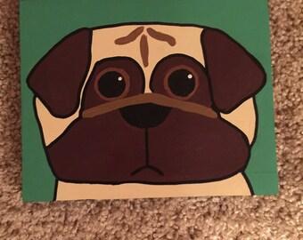 Handpainted Pug - Acrylic on wood
