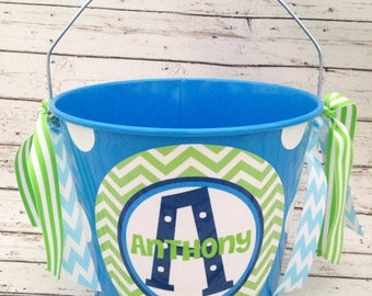 ON SALE personalized Preppy blue and green chevron bucket