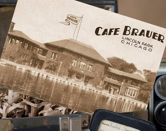 Vintage Postcard Save the Date (Cafe Brauer, Chicago, Illinois) - Design Fee