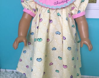 18 inch doll clothes- Yellow Heart ALWAYS Party Dress