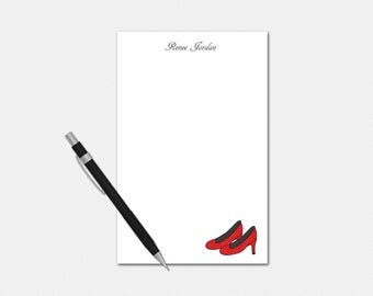 Personalized Red High Heels Notepad - Red High Heels Notepad - Personalized Notepad - Stationery for Her - Custom Red High Heels Notepad