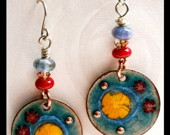 Eameled copper and lampwork earrings