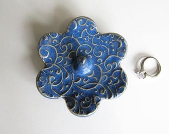 Ring Holder, Ring Dish, Ring Bowl, Glazed in Indigo Blue