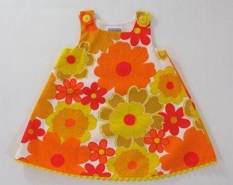 Girls' Flower Power Orange & Yellow Bright Floral Dress, Baby Dress, Toddler Dress, Girls' Dress, Retro 70s Dress, Sizes Newborn to Girls 6