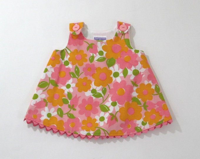 Pink & Orange Daisy Vintage Floral Baby Girls' Dress, Baby Shower Gift, New Baby Gift, Girls' Pinafore, Girls' Sundress, Size 3 - 6 Months