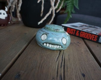 hand thrown, ceramic,  Zombie sugar bowl with bitey lid