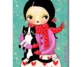 ORIGINAL cat folk art TUXEDO cat on Valentines day cute big eyes girl painting by Tascha