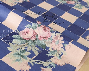 Japanese Fabric Yuwa Roses Check - blue - 50cm