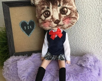 Warugaki Badass cat doll - neko and japanese school girl hybrid - ooak ugly cute punk bizarre doll from japan