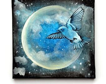 "The Night Bird - Original painting 8"" acrylic on canvas"