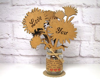 Gift For Her - LOVE YOU - Corrugated Cardboard Flowers Bouquet In Mini Mason Jar