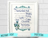 Pride and Prejudice Blessing Cross Stitch Pattern - Jane Austen Literary Gift Bennet Family Embroidery Pattern Cross Stitch Baby
